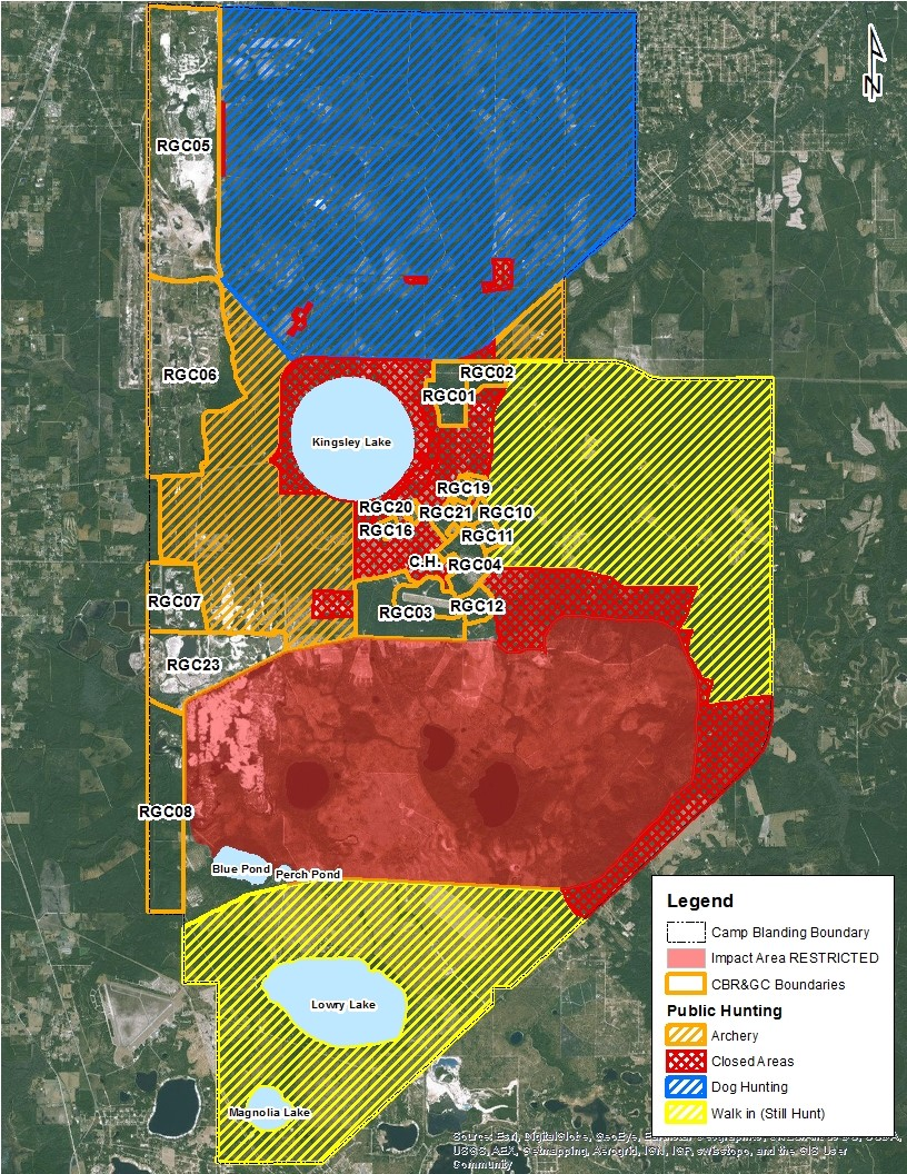 Camp Blanding Florida Map.Official Hunting Areas